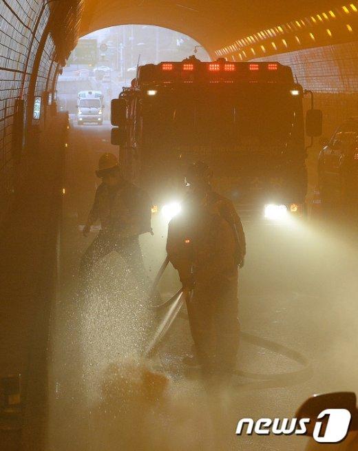 [사진]서울시, 구룡터널 화재사고 대비 합동훈련