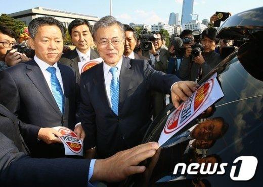 [사진]野 지도부 '국정교과서 반대 홍보전'