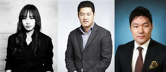 /사진=(왼쪽부터) 양지해 엠티콜렉션 대표, 전상우 태진인터내셔날 이사, 이재교 듀오 전무