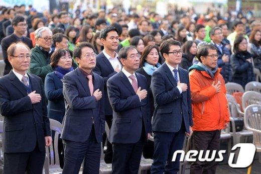 [사진]서울 혁신교육 박람회 참석한 박원순-조희연