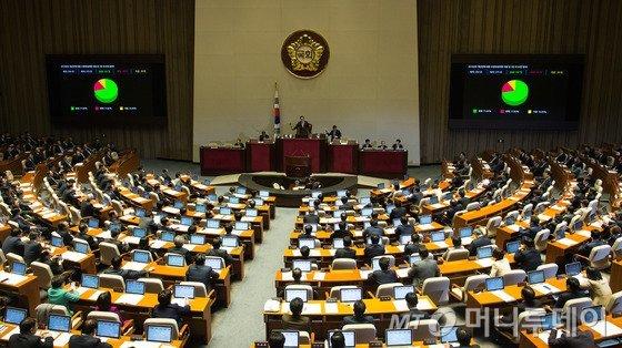 3일 새벽 서울 여의도 국회 본회의장에서 의원들이 표결에 참여하고 있다. 군데군데 빈자리가 보인다. /사진= 뉴스1