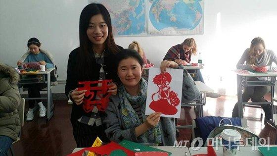 현재 중국어 어학연수중 종이공예 수업 모습./사진제공=이보람