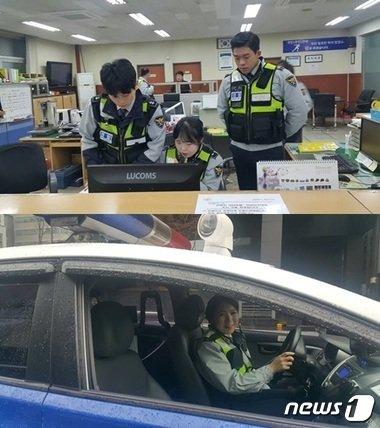 근무중인 신유리 순경(위)과 이현경 순경(아래). © News1
