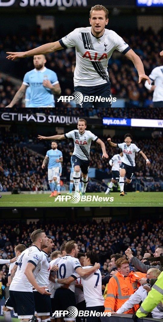 해리 케인의 선제골 순간. /AFPBBNews=뉴스1<br /> <br />