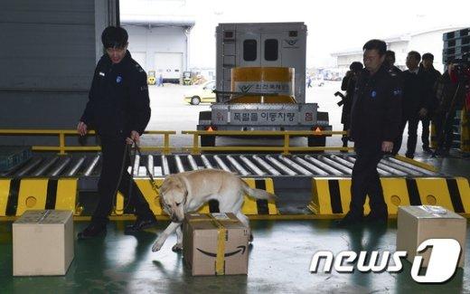 [사진]'탐지견과 함께 폭발물 의심물체 수색 중'