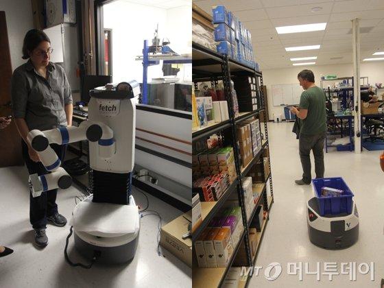 (왼쪽)자사 로봇 '페치'에 대해 설명하고 있는 멜로니 와이즈 CEO. (오른쪽)회사 내에 마련된 모의 물류 창고에서 직원이 '프레이트'의 성능을 테스트하고 있다./사진=김평화 기자