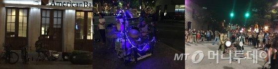 오스틴 거리 곳곳에는 1인 뮤지션들의 연주가 수시로 펼쳐진다. 특히 드럼 연주자들이 늦은 시간까지 '시끄러운' 소리를 내며 관객의 흥을 돋운다. /오스틴(미국)=김고금평 기자<br />