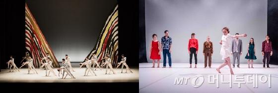 대한민국발레축제, 국제현대무용제의 개막작품인 국720립발레단의 갈라프로그램(왼쪽)과 스코틀랜드 국립현대무용단의 작품/ 사진제공=예술의전당, 모다페(MODAFE·Brian Hartley)
