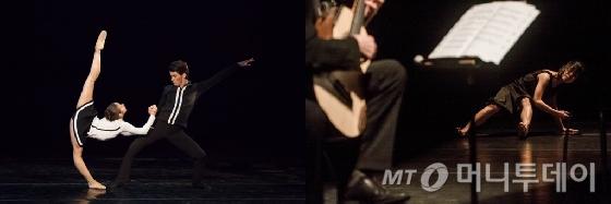 대한민국발레축제에서 선보이는 재독 안무가 허용순의 작품(왼쪽)과 국제현대무용제에서 열리는 김원 전북대 교수의 '나란히서다+' 공연/사진제공=예술의전당, 모다페