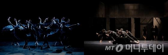이루다블랙토프로젝트의 '블랙스완레이크'(왼쪽)과 LDP무용단의 '마음'/ 사진제공=예술의전당, 모다페