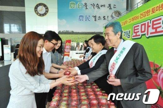[사진]농협, 부부의 날 기념 토마토 나눔행사 실시