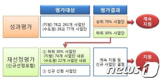 대학 특성화사업 중간평가 흐름도. (자료: 교육부)© News1