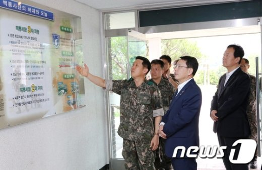 [사진]육군 부대현황 살피는 천홍욱 관세청장