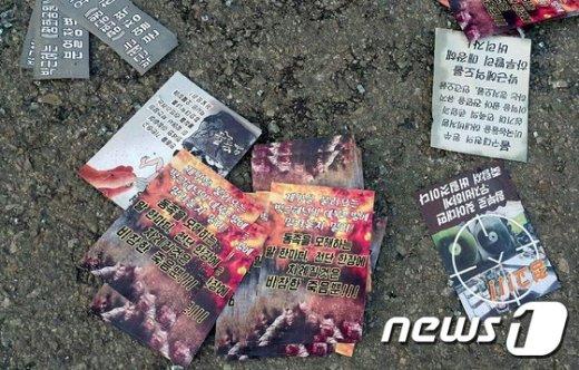 경기 파주와  고양지역에서 대량으로 발견된 대남전단. (김미경 씨 제공, 자료사진) /뉴스1 DB