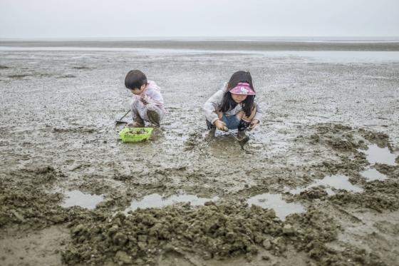 전북 고창군 구시포에서 아이들이 갯벌 체험을 하고 있다. 한국관광공사는 23일 '어촌이 있는 해변 풍경'이라는 주제로 '7월의 가볼만한 곳' 6곳을 선정해 발표했다. /사진제공=한국관광공사