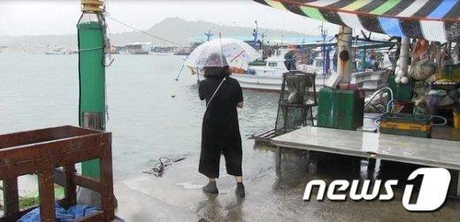 강원 고성군 송지호 해수욕장 인근 항구에서 포켓몬 고 사용자가 바다 근처에서 게임을 하고 있다 © News1