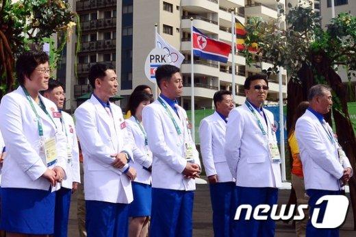 [사진]리우올림픽, 북한 선수단 입촌식 '선수들은 어디에?'