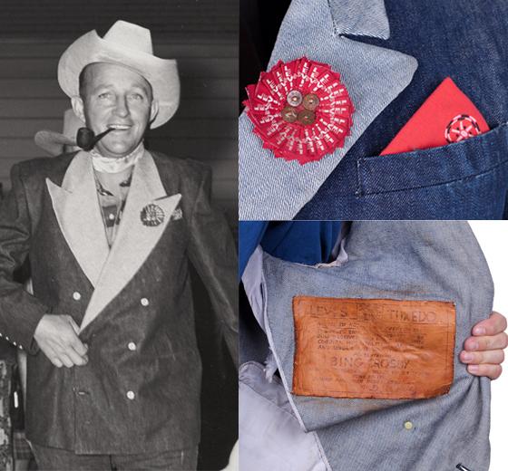 (왼)빙 크로스비가 리바이스가 제작한 데님 턱시도 재킷을 입은 모습, (오) 당시 리바이스가 빙 크로스비에게 선물한 재킷 상세컷/사진=리바이스
