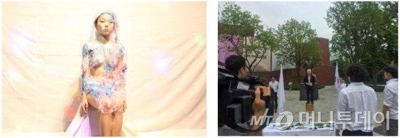 지난달 부산비엔날레 조직위원회가 프로젝트 1  일환으로 재연한 두 퍼포먼스인 정강자 작가의 '투명풍선과 누드'(왼쪽)와 제 4집단의 '기성문화 장례 행렬'