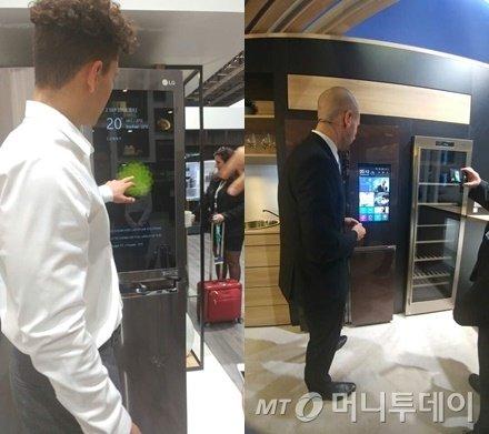 (왼쪽부터)LG전자와 하이얼이 'IFA 2016'에서 전시한 스마트 냉장고/사진=김성은 기자