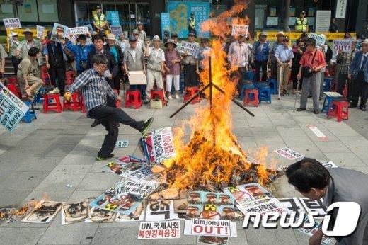 [사진]보수단체 '북한 핵실험 규탄한다'