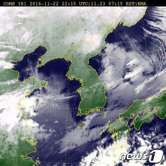 23일 오전 7시15분 기준 전국 위성사진 (출처 기상청) © News1