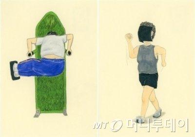호상근의 2012년 작인 '지지 않겠다!'(왼쪽)와 '바람만 있으면, 됩니다'. /사진제공=호상근