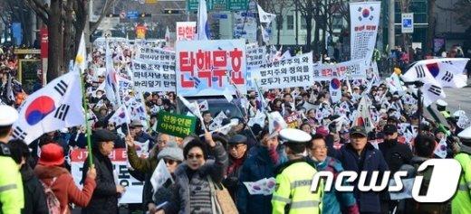 [사진]청와대로 행진하는 보수단체