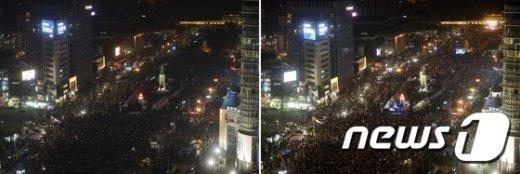 [사진]박근혜 대통령 하야 요구 '소등, 그리고 점등'