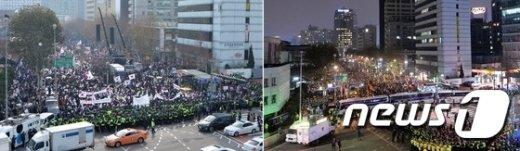 [사진]헌재 앞 낮과 밤