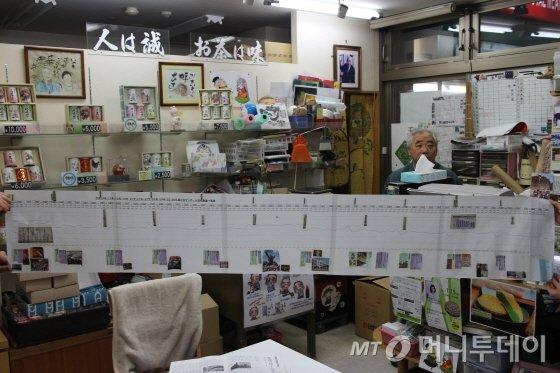 고베 다이쇼쇼지 전통시장에서 39년 동안 아지만 차 판매점을 운영한 이토 마사카즈(69) 사장이 2004년부터 집계한 시장 박스 배출량 자료/사진=박경담 기자