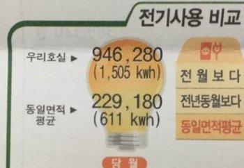 지난 여름 전기료로 94만6280원을 받았다고 밝힌 누리꾼의 고지서. /사진=온라인 커뮤니티