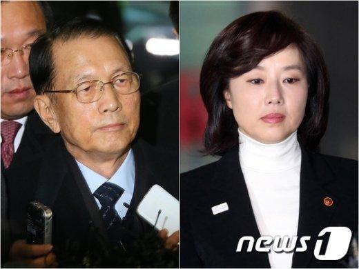 김기춘 전 청와대 비서실장(왼쪽)과 조윤선 문화체육관광부 장관. © News1