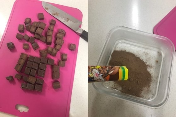 쿠킹용 코코아 파우더가 없다면 초코가루를 사용해도 된다/사진=한지연기자