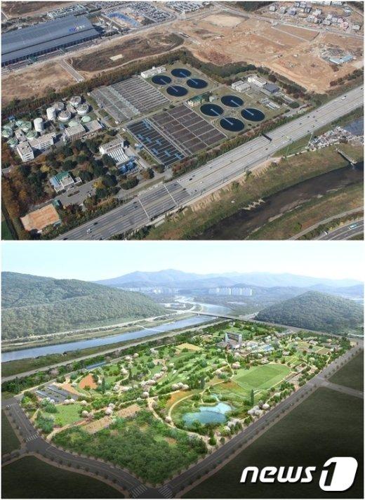 기존 박달하수처리장의 모습(위)과 새물공원 조감도.© News1