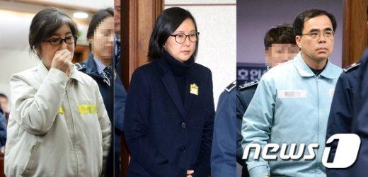 최순실씨와 장시호 씨, 김종 전 문체부 차관 © News1 사진공동취재단