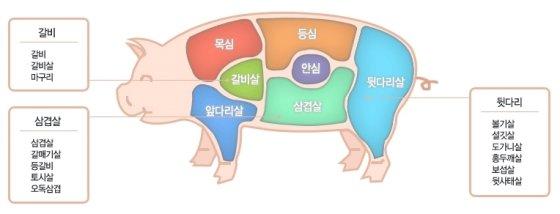 돼지고기 부위/사진=대한한돈협회 홈페이지