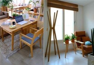 식탁 디자인에서 책상을 개발한 '카우리 OAK DESK'(좌)와 당일 필요한 옷만 심플하게 정리할 수 있는 '오크행거'(우) /사진제공=카우리