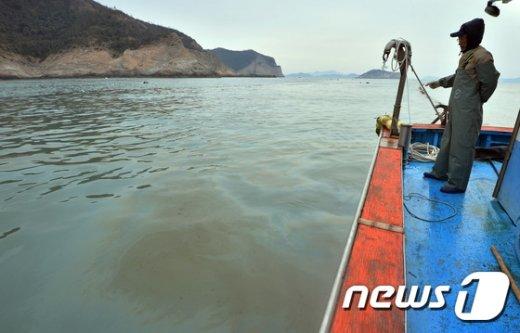 [사진]세월호 유츨 기름 바라보는 어민
