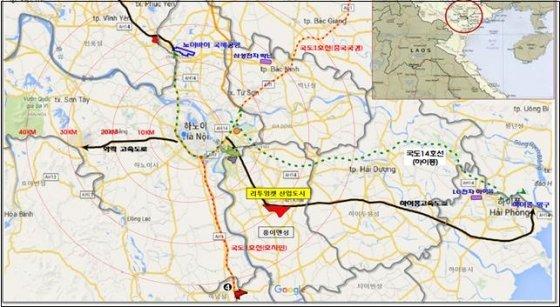 베트남 홍이엔성 산업도시 위치도 / 제공 = LH