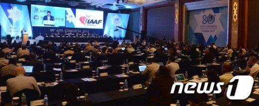 [사진]'국제 스포츠계의 현안 논의' 세계체육기자연맹 총회