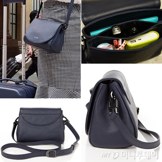 PLUME ELEGANCE CROSS BODY BAG XS NAVY/사진=이은 기자, 리뽀