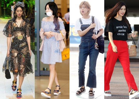 왼쪽부터 '돌체 앤 가바나' 모델, 소녀시대 태연, 트와이스 정연, 가수 가희 /사진=돌체 앤 가바나 2017 S/S 컬렉션, 머니투데이DB