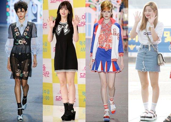 왼쪽부터 '안나수이' 모델, 가수 전소미, '안나수이' 모델, 트와이스 다현 /사진=안나수이 2017 S/S 컬렉션, 머니투데이DB