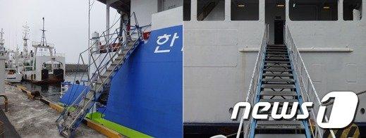 휠체어 사용자에게 부적합한 여객선 출입구(국가인권위원회 제공). © News1