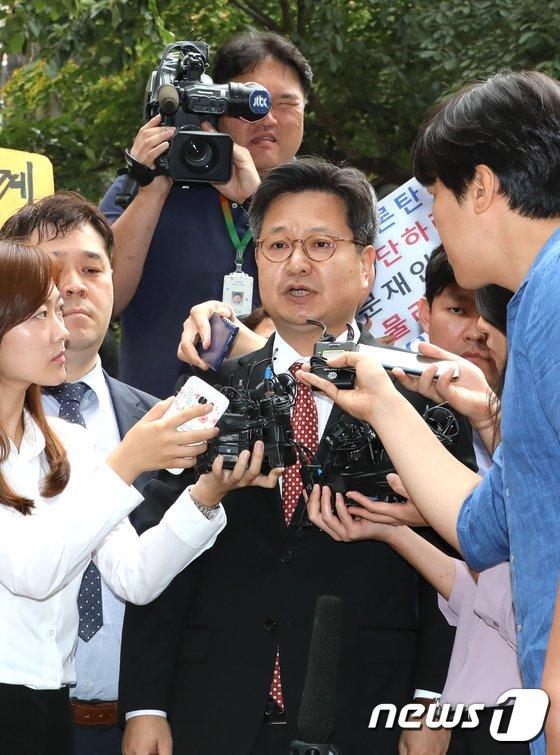 [사진]노동청 출석하는 김장겸 MBC사장