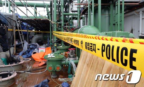 지난달 4명의 사망자를 낸 경남 창원시 진해구 STX조선해양 선박 폭발 사고현장이 통제가 되고 있다. © News1 여주연 기자