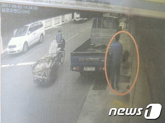 피의자 김모씨(54)가 도로에서 발견한 레브라도 리트리버를 차에 싣고 가려는 장면./사진=부산지방경찰청.뉴스1
