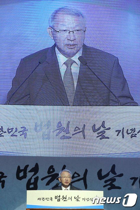 [사진]인사말하는 양승태 대법원장