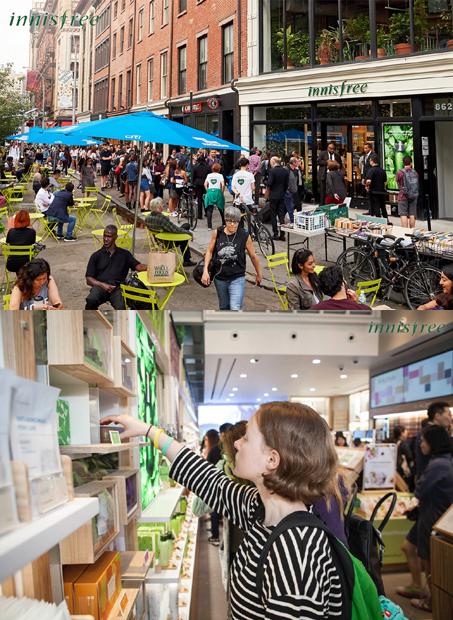 (위)지난 15일(현지시간) 미국 뉴욕 유니온스퀘어에 오픈한 이니스프리 플래그십 스토어 전경. (아래)이니스프리 뉴욕 플래그십 스토어에서 현지 고객이 제품을 살펴보고 있다./사진제공=이니스프리